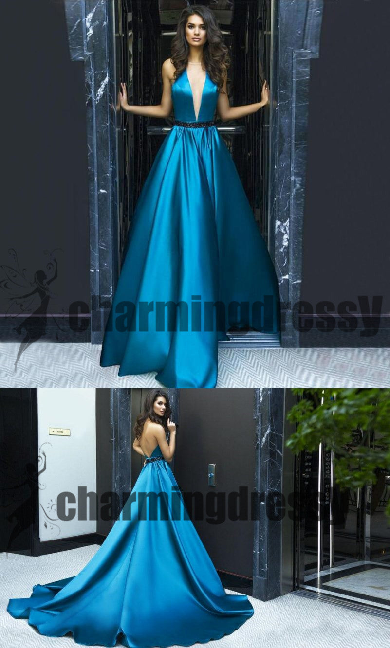 Blue Elegant Deep V-Neck Simple Satin Formal Party Prom Dresses ...