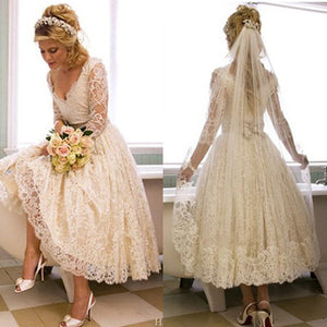 Vantage V-Neck Long Sleeve Tea Length White Lace Princess Wedding Party Dresses, WD0031
