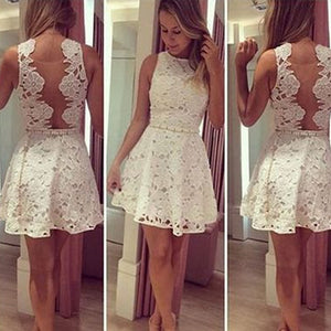 Short white lace simple see through mini cute homecoming prom dress,BD0031