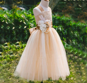 Lovely Lace  Sleeveless Lace Up Back Lace Flower Girl Dresses With Handmade Flower Sash, FGS032
