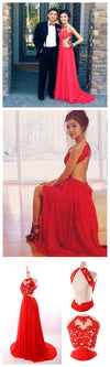 Long Red Cheap Chiffon  Simple Backless Custom Elegant Evening dresses,PD0033