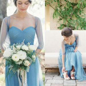 Blue Tulle Most Popular Bridesmaid Dresses, Custom Cheap Dress for wedding guest, PD0348