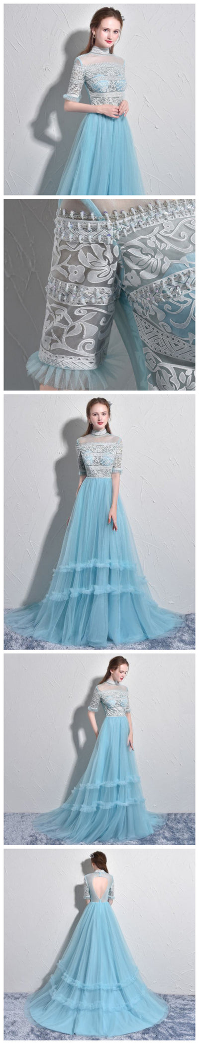 Half Sleeves High Neck Prom Dresses, Tulle A-line Lace Beads Unique Design Prom Dress, PD0347