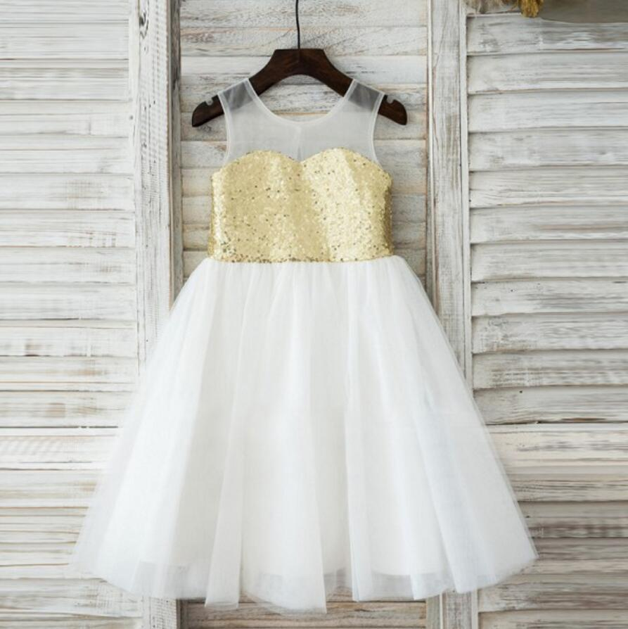 Lovely Shiny Golden Sequins Sweetheart Round Neck Sleeveless Flower Girl Dresses, FGS036