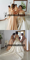 Long Gorgeous Short Sleeves Gold Lace Handmade Beautiful  Wedding Dresses with train, PD0413