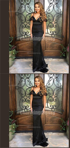 Spaghetti Straps Off Shoulder Black Sexy Elegant Formal Fashion Prom Dresses, Prom Gown, PD0410