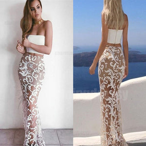 Two Pieces White Lace Fashion Simple Sexy  Prom Dresses, Ball Gown, Prom Dress 2018, PD0462