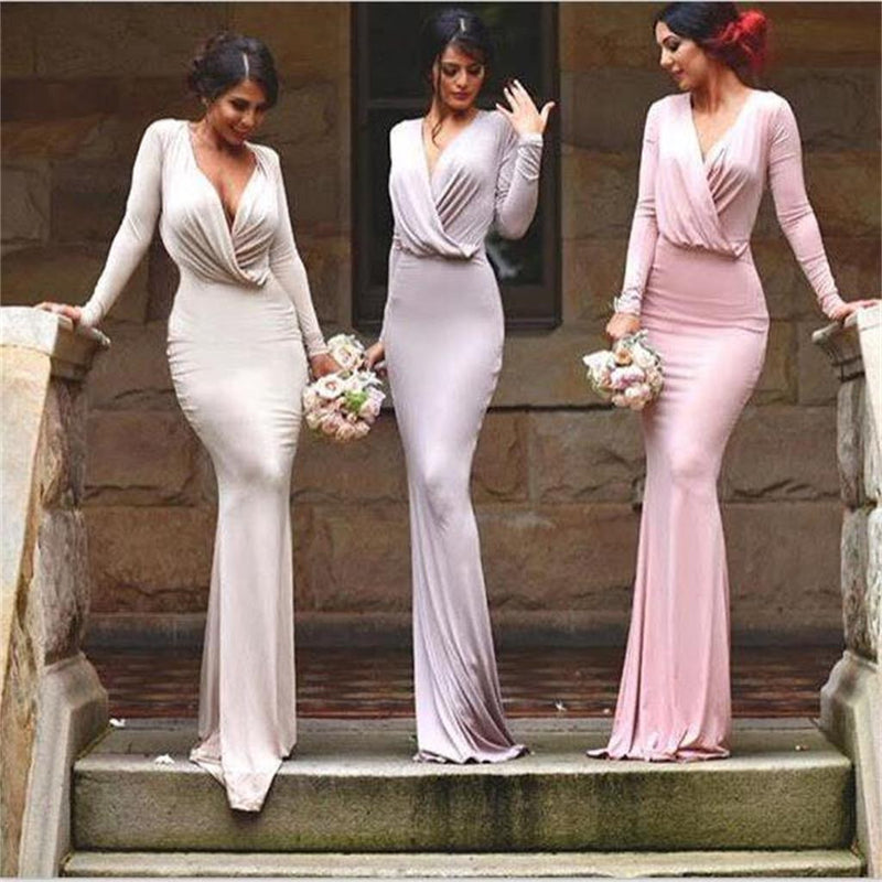 long sleeves sexy simple unique style bridesmaid dress,long formal wedding party prom dress ,PD0207