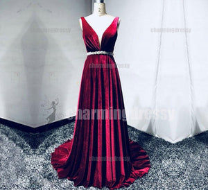 Long Sexy Deep V-Neck Simple Pretty Elegant Fashion Red Modest Charming Prom Dresses, PD0465