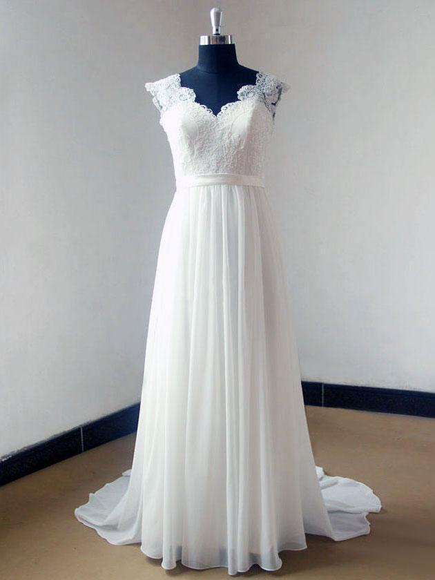Cap Sleeve V Neck Lace Simple Cheap Beach Wedding Dresses, WD321