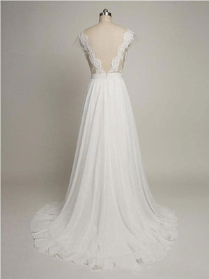 Backless See Through Cap Sleeve Lace Simple Cheap Beach Wedding Dresses, WD322