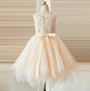 Round Neckline Lace Top Tulle Flower Girl Dresses, Affordable Little Girl Dresses, FG076