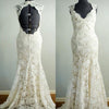 Vantage Beige Lace Open Back Long Mermaid Wedding Party Dresses, Bridal Gown, WD0042