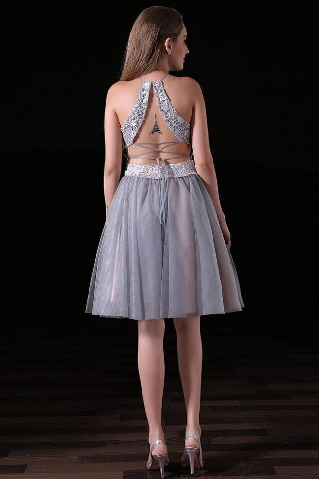 Sexy Two Pieces Backless Grey Short Cheap Homecoming Dresses Online, CM570