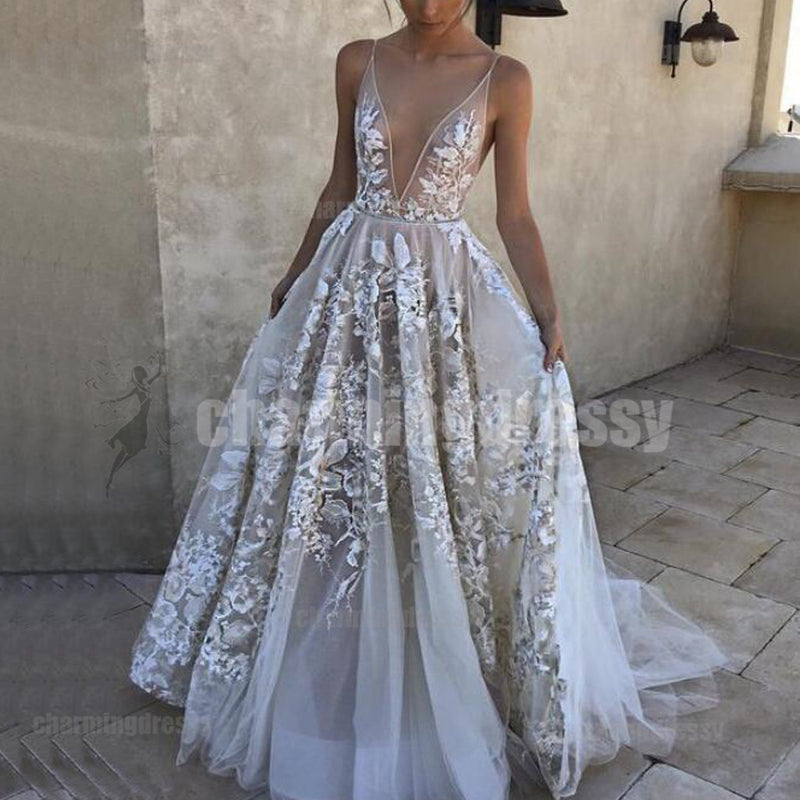 Lace Unique Design Pretty Deep Neck Long Party  Prom Dresses, Evening dresses for 2018 prom, PD0455