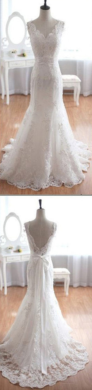 Popular Elegant V-Neck Long Mermaid White Lace Bridal Gown, Wedding Party Dresses , WD0045