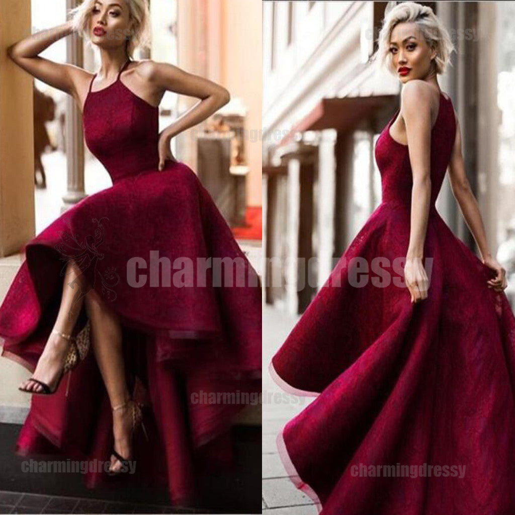 Modest High-Low Red Full Lace Prom Dresses, Evening dress, party ...
