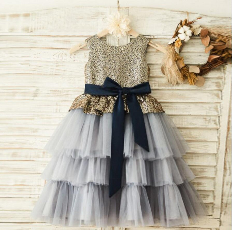 Lovely Sequin Grey Tulle Flower Girl Dresses, Zip Up Little Girl Dresses, FG080