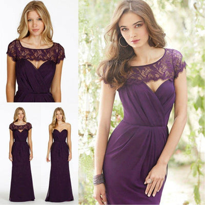 Lace Chiffon Sweet Heart Backless  Formal  Purple Cap Sleeve Cheap Bridesmaid Dresses, WG48