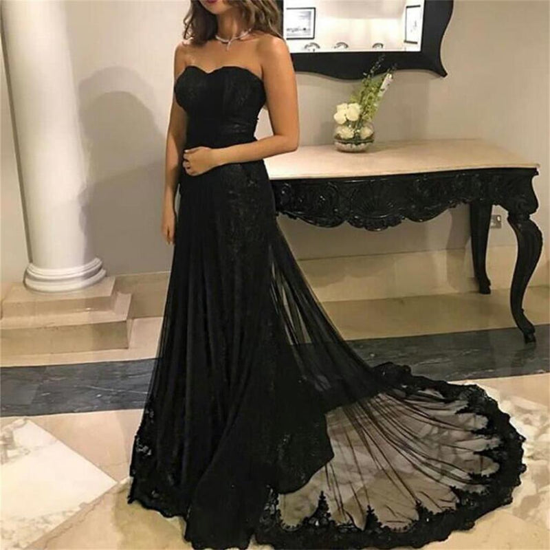 Black Lace Mermaid Charming Prom Dress with train , Sweetheart Simple Modern Prom Dresses PD0342