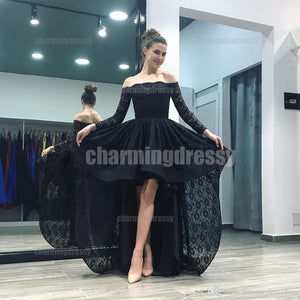 Long Sleeves Full Lace Black High-Low Fashion Prom Dresses, Prom Dress, Evening Dress, PD0412