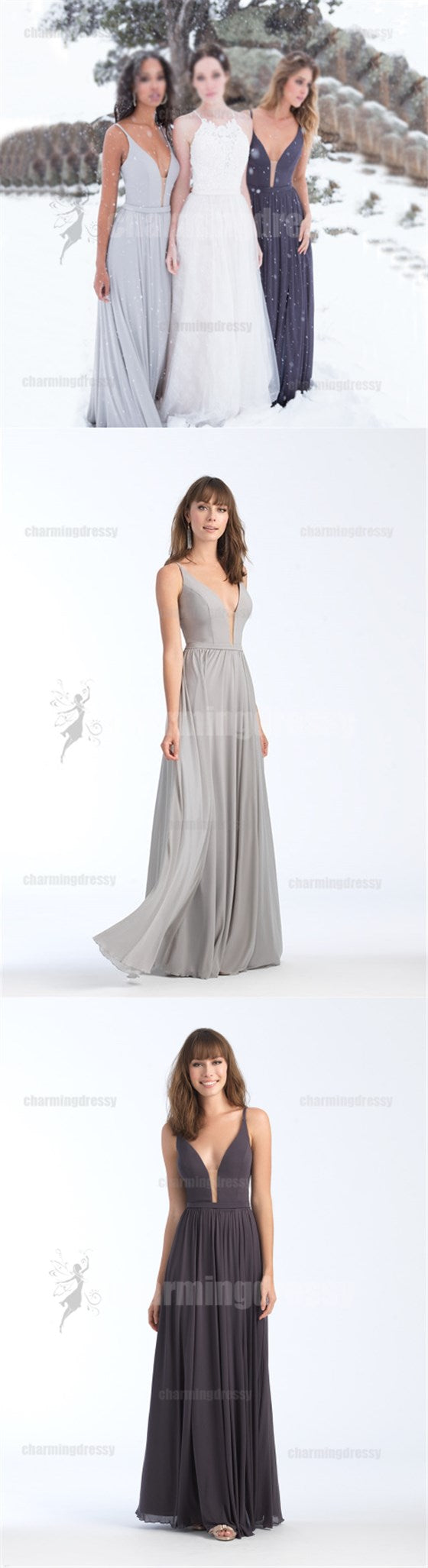 Chiffon Cheap Soft Affordable Custom Floor-length Bridesmaid Dresses, Popular Wedding guest dress, PD0417