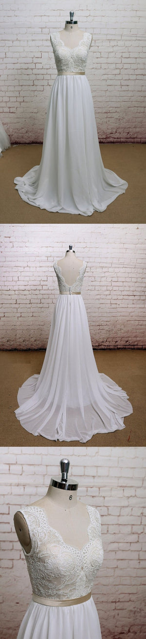 A-line Chiffon With Lace Simple V-Neck Free Custom Handmade Wedding Dresses, WD0135