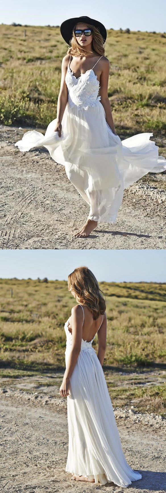 Spaghetti Straps Beach Summer Simple 2017 V-neck Open Back Chiffon Wedding Dresses , PD0227