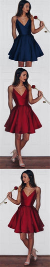 Short Simple Satin Red Blue V-neck Most Popular Prom Dresses, Fashion Homecoming Dresses, PD0374