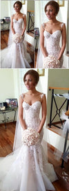 Long Applique Sleeveless Mermaid Spaghetti-Strap Tulle Pretty Custom Wedding Dresses, WD0196
