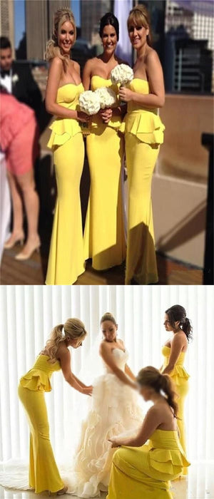 Long Yellow Mermaid Sweetheart Unique Elegant Formal Bridesmaid Dresses ,wedding guest dresses , PD0251