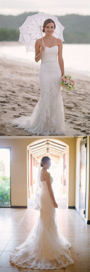 Sleeveless Mermaid Sweetheart Lace Simple Beach Summer Charming  Wedding Dresses, WD0161