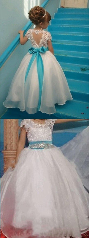 Short Sleeves Lovely Cute Lace Pretty  Flower Girl Dresses with bow , Fashion Little Girl Dresses, FG103