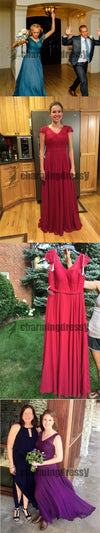 A-Line Simple Newest Formal Chiffon Cheap Bridesmaid Dresses, Wedding guest dress, PD0388