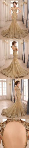 Long mermaid gold lace up open back elegant shining gorgeous elegant prom wedding dresses ,PD0231