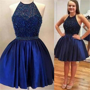 Halter backless Royal Blue Beaded homecoming prom dresses, CM0026