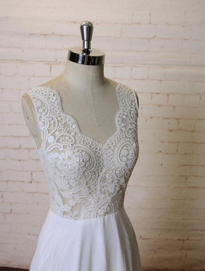 Sexy Backless See Through Lace V Neck A-line Cheap Beach Wedding Dresses Online, WD387