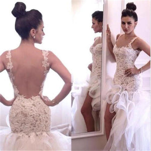 Sexy Backless Unique Design Hi-low Mermaid Lace  Bridal Gown Wedding Dresses, PD0280
