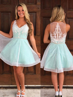 Cheap Simple Cute V Neck Mint Homecoming Dresses 2018, CM494