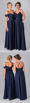 Mismatched Different Styles Chiffon Navy Blue  Formal Cheap Sexy Bridesmaid Dresses, WG52