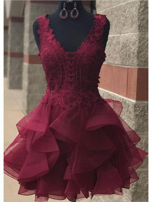 V Neck Burgundy Lace Short Cheap Homecoming Dresses Online, CM579