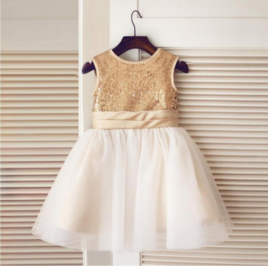 Gold Sequin Simple Cutest  Cheap Soft Pretty Flower Girl Dresses With Bow, FG0089