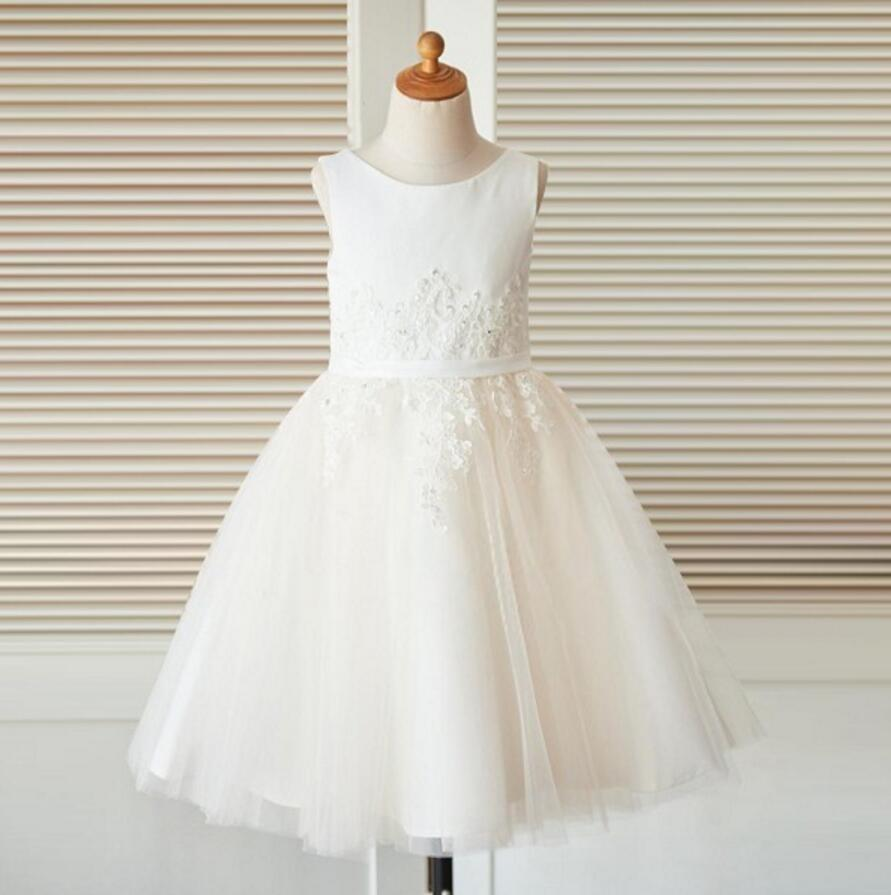 Scoop White Sleeveless Unique New Flower Girl Dresses, Junior Bridesmaid Dresses, FG090