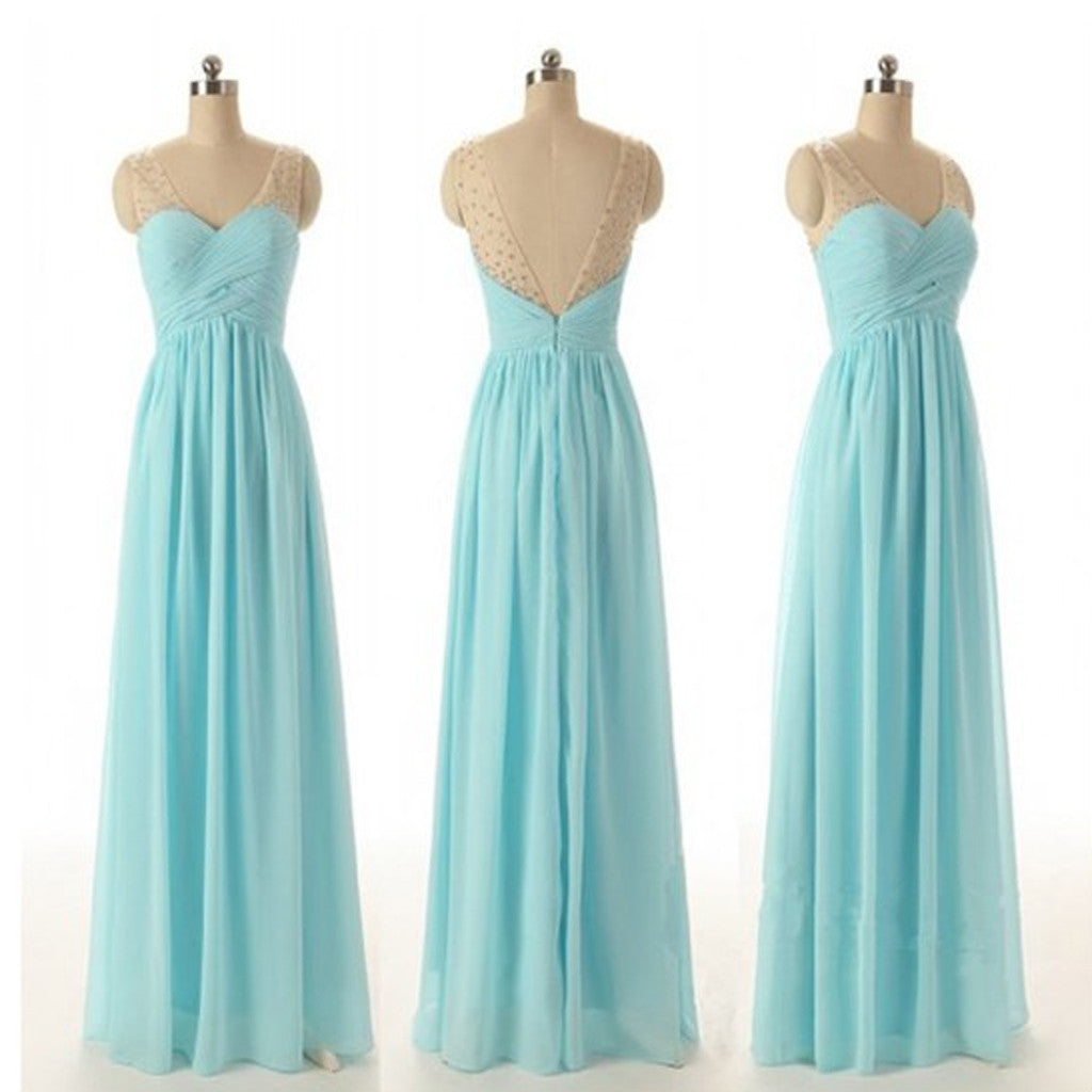 Junior Off Shoulder V-neck Blue Chiffon Formal  Wedding Party Dresses for Bridesmaid, WG56