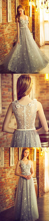 A-line Lace Appliques Tulle Sleeveless V-Neck Prom Dress, Formal Affordable Charming Prom Dresses, PD0346