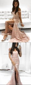 Lace Off Shoulder Mermaid Side Slit Prom Dresses, Sexy Mermaid Popular Prom Dress, PD0425