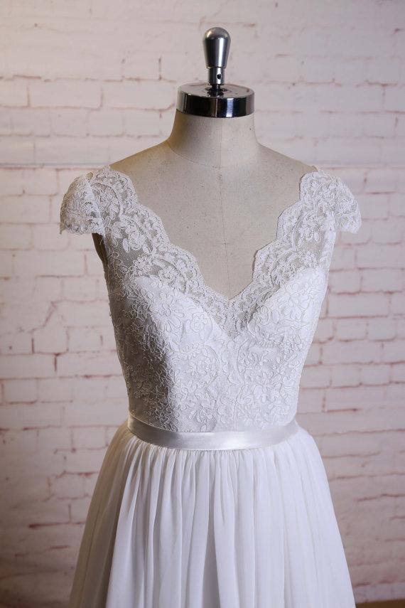 Lace Cap Sleeves V Neck Cheap Beach Wedding Dresses Online, WD375