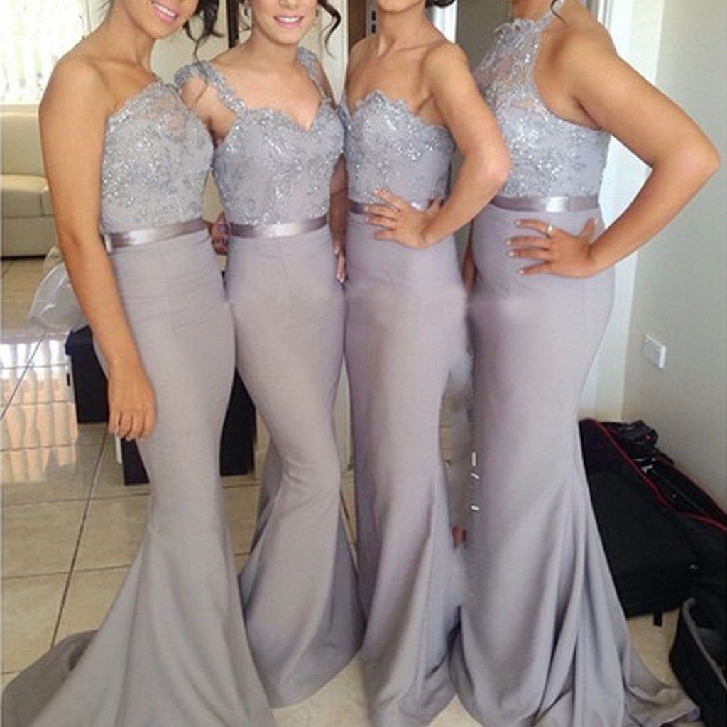 Popular Four Differnt Styles Mismatched Lace Grey Sexy Mermaid Long Bridesmaid Dresses, WG62