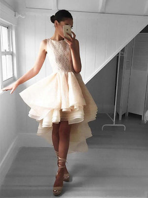 Champagne Lace High Low Lace Cheap Short Homecoming Dresses Online, CM590