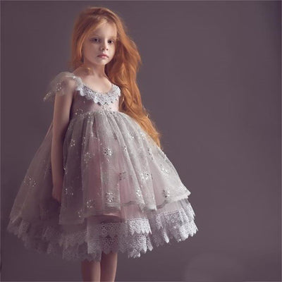 Cap Sleeves Lovely Cute Lace Soft Flower Girl Dresses, Fashion Little Girl Dresses, FG102